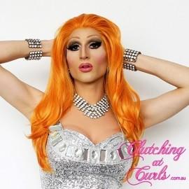 Medium 45cm Straight Orange Synthetic Lace-Front Wig